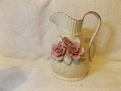 "Vintage Glassware Antique Floral Pitcher Porcelain 7 1/2"" Tall Very Nice"