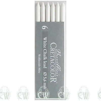 Pack of 6 Cretacolor Artists White Chalk Medium 5.6mm Clutch Pencil Leads.