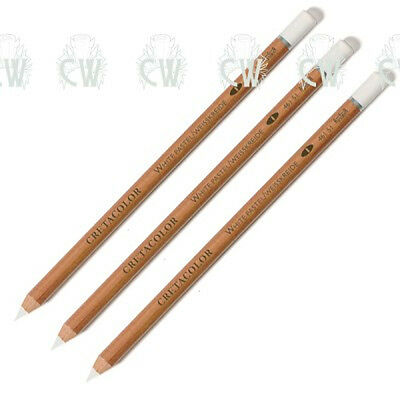 3 X Cretacolor Artists WHITE Chalk Pastel Pencils SOFT. For Drawing & Sketching