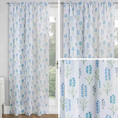 Blue Voile Curtain Panels Blossom Slot Top Floral White Sheer Rod Pocket Voiles