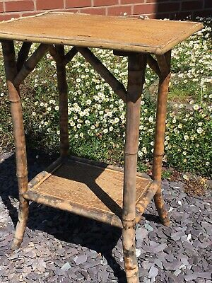 Antique Victorian Tiger Bamboo Two Tier Plant Side Conservatory Table