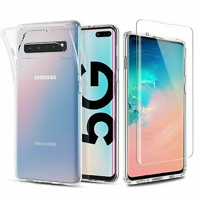 For Samsung Galaxy S10 5G Clear Shockproof Slim Cover Case + Screen Protector