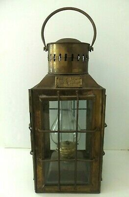 Antique Nautical Ships Lantern Brass w/Glass Panes Arts & Crafts Mission Style
