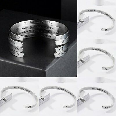 Stainless Steel Inspirational Gifts Cuff Wristband Bracelet Bangle Engraved NEW