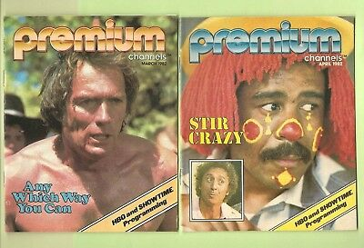 2 Premium Channels TV Guides March April 1982 HBO Showtime Stir Crazy Ships FREE