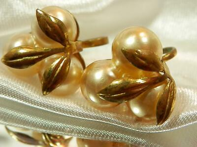 Vintage 1950's Faux Pearl Antique Gold Tone Screw Back Deco Earrings 786my9