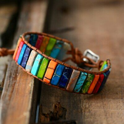 Fashion 7 Chakra Bracelet Women Handmade Tube Natural Stone Leather Wrap Bangle
