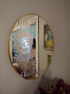 RARE!! Vintage Mid Century Antique Wall Mirror-Etched 27x21 Oval Robert Slimbach