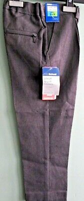 NEW BOYS EX M & S CLASSIC GREY FRONT PLEAT SCHOOL TROUSERS 2-16+ S R L Leg T18