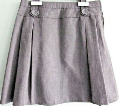 NEW GIRLS EX STORE GREY PLEATED ADJUSTABLE WAIST SCHOOL SKIRT AGE 10-14 yr GAA13