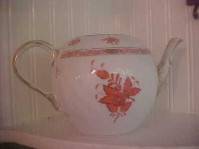 """1 HEREND CHINESE BOUQUET RUST TEAPOT  Missing Lid  10 1/2"""" Unused"""