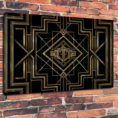"Art Deco Vintage Printed Box Canvas Picture A1.30""x20"" Deep 30mm Frame Wall Art"