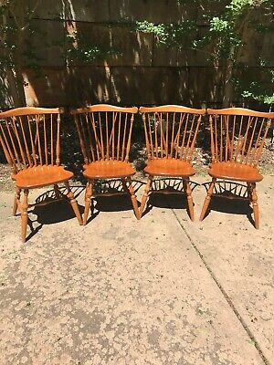 Set Of 4 Ethan Allen Heirloom Windsor Side Dining Chairs Maple Nutmeg