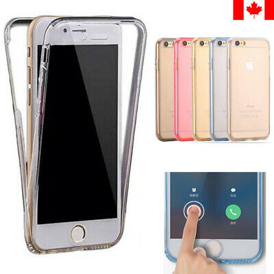 For iPhone 7 8 Plus X XS XR-Full Body Front&Back 360 Cover Transparent Soft Case
