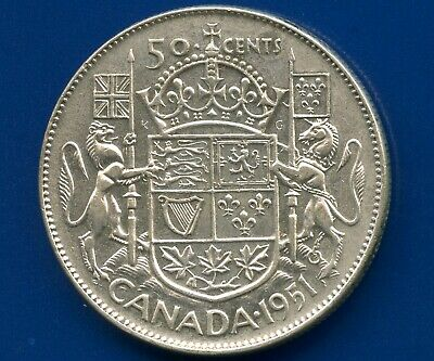 "1951 Canada Silver 50 Cents ""Narrow Date"" 11.66 Grams .800"