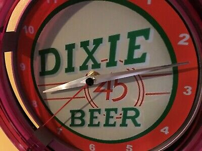 Dixie 45 New Orleans Beer Bar Advertising Man Cave Neon Wall Clock Sign
