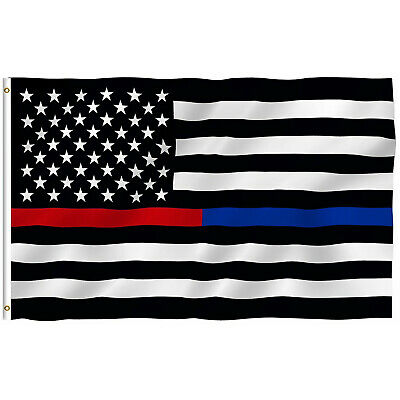 Thin Blue Line American Flag 3x5 Police Firefighter Red Support Flag w Grommets