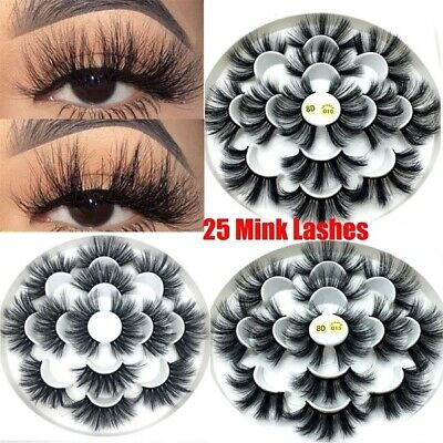 SKONHED 7 Pairs 25mm 6D Mink Hair False Eyelashes Thick Wispy Fluffy Lashes CAAN