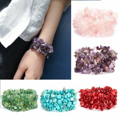 Women Natural Stone Crystal Chipped Bead Bracelet Healing Reiki Lucky Bangle New