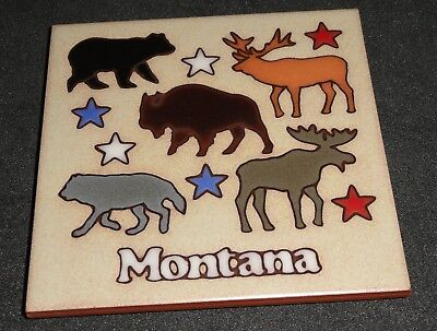 "MASTERWORKS Ceramic Tile Trivet MONTANA Glazed Handcrafted Art Footed 6""x6"""