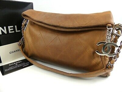 8880185c47332c r1433 Auth CHANEL Brown Lambskin CC Charm Small Ultimate Soft Shoulder Tote  Bag
