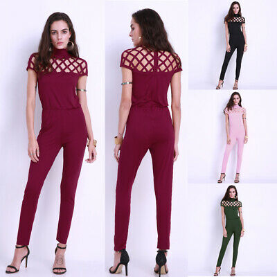 Womens Playsuit Bodycon Jumpsuit Romper Clubwear Long Party US Pants Trousers