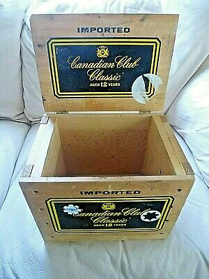 Vintage Wood Shipping Box Crate Canadian Club Classic 12