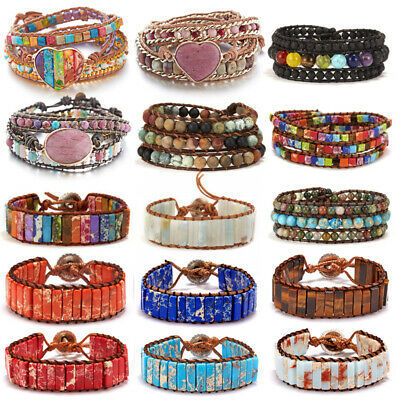 7 Chakra Natural stone Leather Bracelet Bangle Beads Handmade Knit knot Women