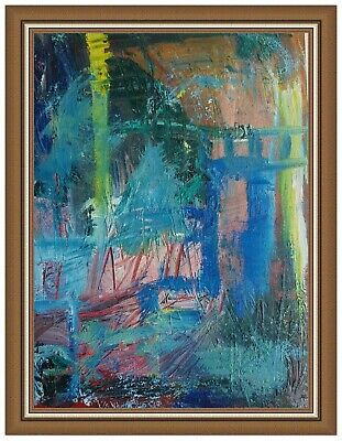 Abstract Oil Painting Original Modern Art Expressionist Bay at Dusk - 20 X 30cm