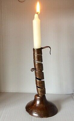 19th Century Pigtail Candlestick with candle height adjuster