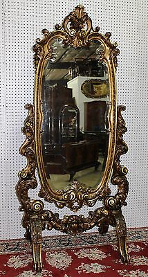 Antique Country French Gold Beveled Hand Carved Cheval Mirror Baroque 6ft C1885