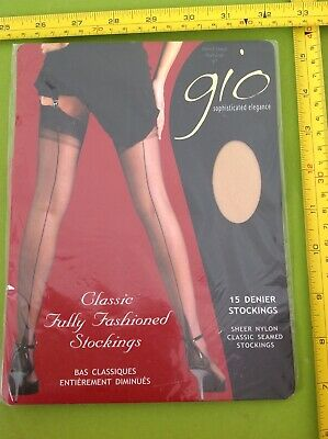 e533aabedd3 RETRO VINTAGE GIO POINT HEEL 15 DEN SEAMED STOCKINGS NYLONS bnip NATURAL 9