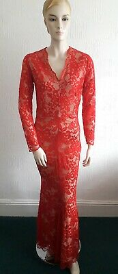 Vintage Style Long Red Lace Gothic 40S M0Rticia Baylis & Knight Evening Dress 10