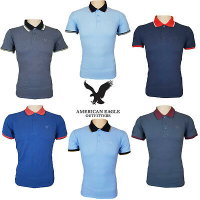 643a42db Mens Polo Top Shirts Tipped American Eagle Outfitters Cotton T-Shirts UK  S-2XL