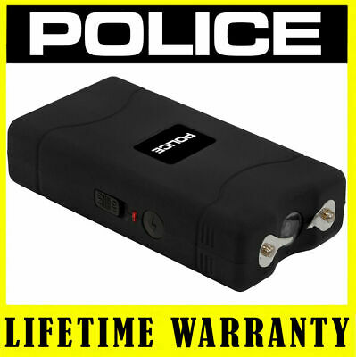 POLICE BLACK 800 35 BV Mini Stun Gun Rechargeable LED Flashlight + Taser Case