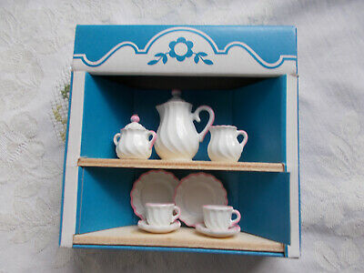 Bodo Hennig Puppenstube Kaffeeservice 2 Pers. Metall weiss rosa OVP W Germany