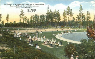 Seattle,WA The Children's Playground And Wading Pool In Woodland Park Postcard