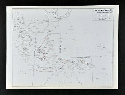 West Point WWII Map War with Japan SW Pacific Philippines New Guinea Borneo WW2