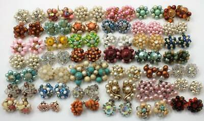 Vtg Cluster Bead Earring Lot Of 42 Pair-Clip On-All Colors Laguna Crystal Rivers
