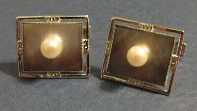 Vintage Art Deco Sterling Silver Mother of Pearl Cufflinks