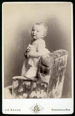 ANTIQUE CABINET PHOTO LITTLE GIRL on FANCY CHAIR by BRUSH LOVELY BACKSTAMP