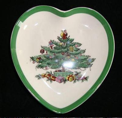 "SPODE Christmas Tree Heart Trinket Candy Nut  Dish 4"" Mini Authentic"