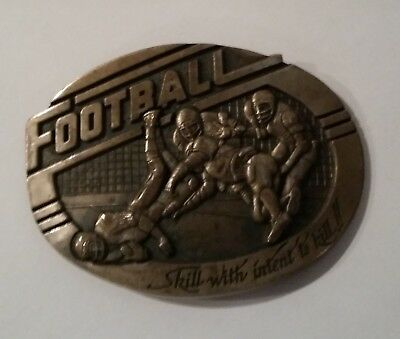 """Football """"Skill With Intent To Kill""""  Vintage Belt Buckle  First Edition"""