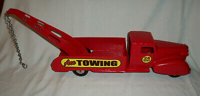 """Antique Restored Metal ACE TOWING TIN TOY TRUCK 21.5"""" Long"""