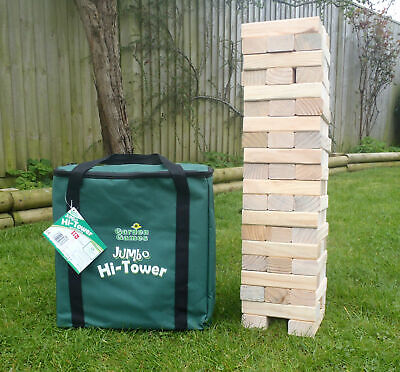 Giant Jenga Stacking Tumble Tower Garden Game 1.5m Wooden Blocks W/Carry Bag