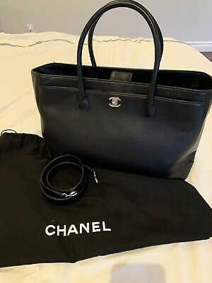 b54808f3c5f092 CHANEL AUTHENTIC EXECUTIVE Cerf Tote Bag Toffee Color with Silver ...