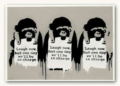 "BANKSY MONKEYS Laugh Now Tan CANVAS ART PRINT Graffiti Art poster 16""X 12"""