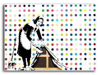 "BANKSY MAID SWEEPING CANVAS ART PRINT 16""X 12"" Graffiti Art poster"