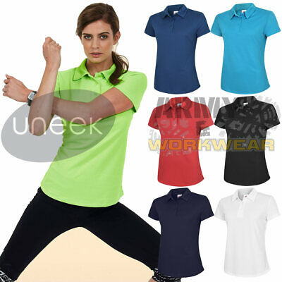 Uneek Ladies Ultra Cool Polo Shirt Women Breathable Polyester Sports Wicking Top