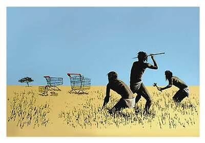 "BANKSY TROLLEY HUNTERS CANVAS ART PRINT 16""X 12"" Graffiti Art poster A"